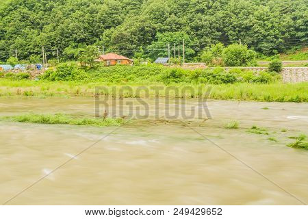 Countryside Landscape Of Rapidly Flowing River Flowing Over Its Banks After Heavy Rainfall