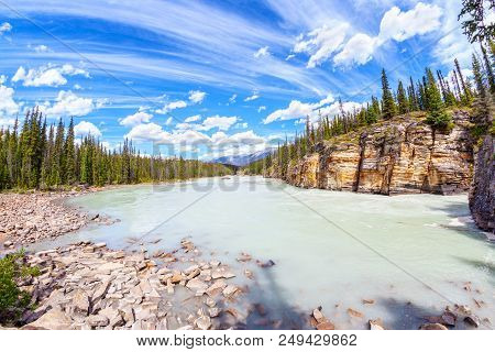 Athabasca River With Stunning Canyon Walls At Athabasca Falls In Jasper National Park On The Icefiel