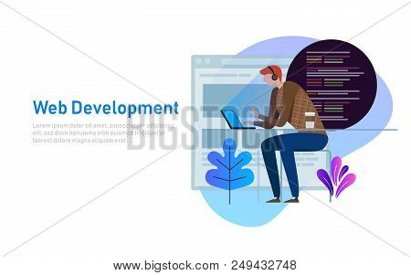 Person Programmer Working On Laptop With Program Code On Screen. Coding And Programming Vector Conce