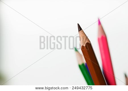 Color Of Pencils Wooden Color Pencils Set On Isolated White Background For Drawing, Education Knowle