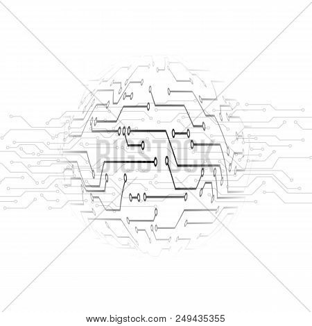 Circuit Pattern. Abstract Technology Circuit Board Circle Background. Track Microcircuit Under The M