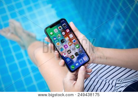 Koh Samui, Thailand - March 30, 2018: Woman Hand Holding Iphone X With Ios 11 On The Screen. Iphone