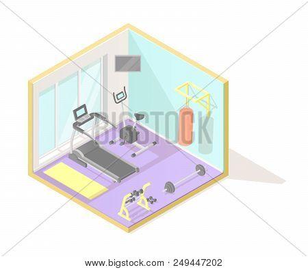 Modern sport club gym cartoon vector interior with treadmill