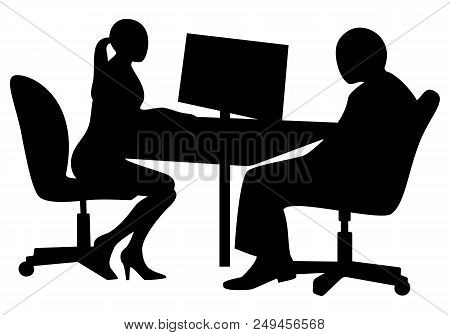 Job Interview. Young Business Woman Is Interviewing A Candidate Sitting At A Desk. Black And White V