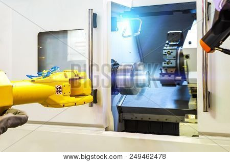 Close Up Robot Hands In Milling Drilling Metalworking Process, Mechanical Turning Metal Working , Me
