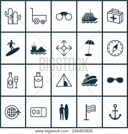 Tourism Icons Set With Surfing, Champagne, Tent And Other Pin Elements. Isolated  Illustration Touri