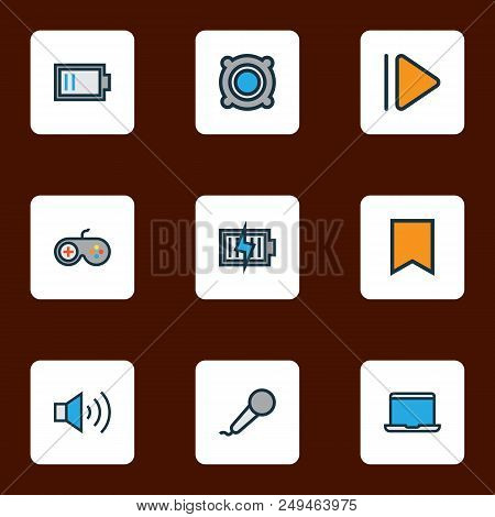 Music Icons Colored Line Set With Laptop, Joystick, Bookmark And Other Megaphone Elements. Isolated