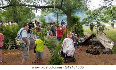 Jungle Area At Pokemon Go Fest, People Walking Around Catching Pokemon On Their Mobile Cellphones In