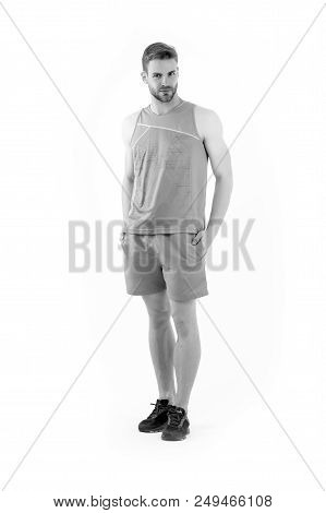 Sportsman In Active Wear And Shoes For Running Isolated On White Background. Bearded Man In Blue Spo