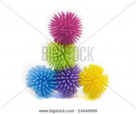 A Stack Of Colorful  Balls