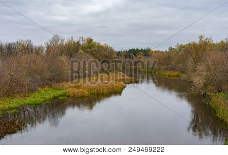 Autumnal Andscape With Psel River Near Byshkin Village In Sumskaya Oblast, Ukraine