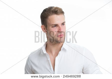 Confident In His Appearance. Man Bristle Serious Face Handsome Isolated White. Man Beard Unshaven Gu