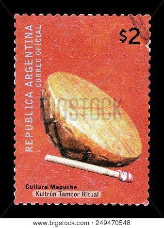 Argentina - Circa 2008 : Cancelled Postage Stamp Printed By Argentina, That Shows Ritual Drum Of Map