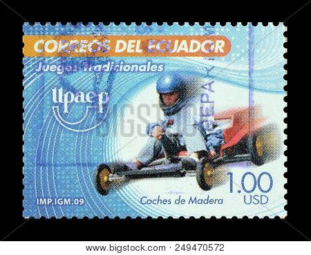 Ecuador - Circa 2009 : Cancelled Postage Stamp Printed By Ecuador, That Shows Racing Driver.