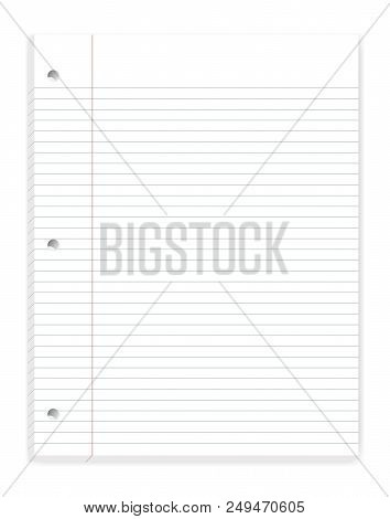 Hole Punched Filler Paper With Margin, Mock Up. Loose Leaf Notebook Of College Ruled Sheets For 3 Ri