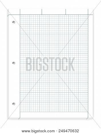 Hole Punched Filler Paper For 3 Ring Binder, Vector Mockup. Engineering Computation Loose Leaf Noteb