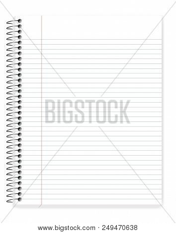 Wirebound Lined Notebook With Margin, Vector Mock Up. Spiral Bound Notepad Isolated On White Backgro