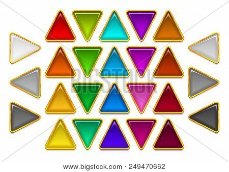 Set Of Glass Triangular Buttons, Arrow Pointers, Computer Icons Of Different Colors. Eps10, Contains