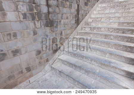 Concrete Stairs And Wall Detail Of Construction.