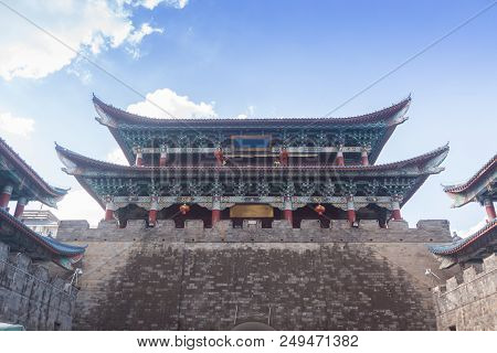 Traditional Chinese Tower On City Wall , Kunming
