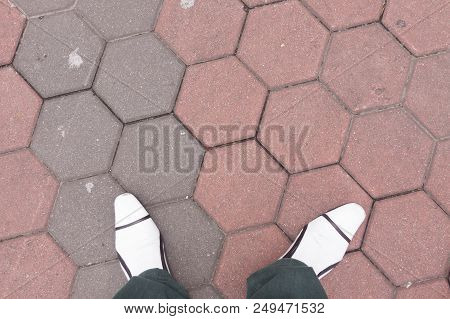 White Leather  Shoes On Brick Floor Background.