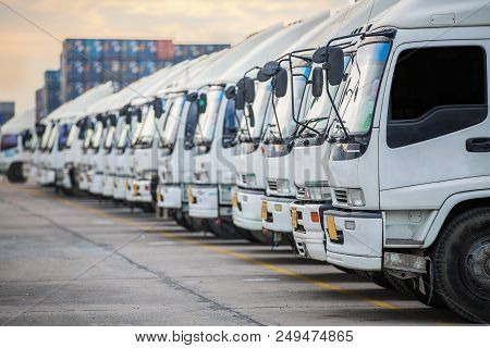 Truck Parking This Immage Canuse For Delivery, Transportation, Road, Traffic, Cargo And Vehicle Conc