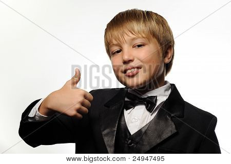 Young Boy Giving Thumbs Up Sign