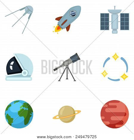 Vector Set Of Color Space Icons. Astronomy Symbols.