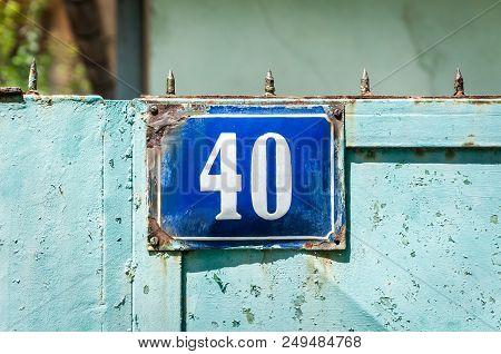 Old Vintage Blue House Address Metal Plate Number 40 Forty On The Rural Gate