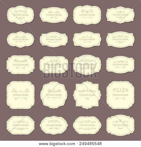 Vintage Frame Labels. Rectangle And Oval Wedding Frames Ribbon Retro Elegant Sticker Sign. Antique L