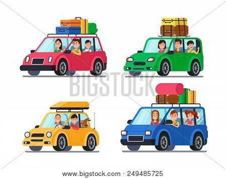Family Traveling Cars. Happy People Travel In Car. Vacation Trip With Mother And Funny Driver Father