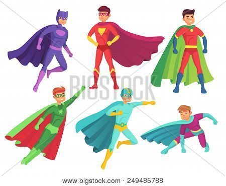 Superhero Man Characters. Cartoon Muscular Hero Character In Colorful Super Costume With Waving Cloa