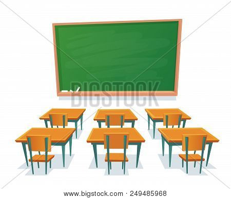 School Chalkboard And Desks. Empty Blackboard, Elementary Classroom Wooden Desk Table And Chair Educ