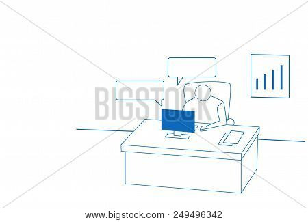 Businessman Chat Bubble Laptop Hard Working Process Office Workplace Concept White Background Sketch