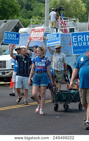 Mendota, Mn/usa - July 14, 2018: Supporters Of Local Candidates March In Annual Mendota Days Parade