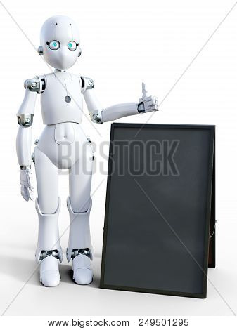 3d Rendering Of A White Friendly Cartoon Robot Standing Next To A Blank Sandwich Board And Doing A T