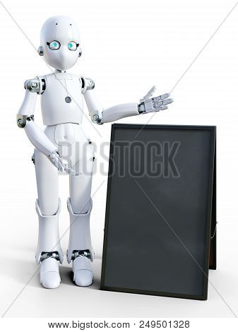 3d Rendering Of A White Friendly Cartoon Robot Standing Next To A Blank Sandwich Board And Pointing