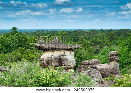 Beautiful Rock Formation In The Phu Pha Thoep National Park, Province Mukdahan In Thailand