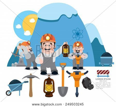 Infographics Miners, Miner Working, Professional Miner, Coal Mine. Vector Illustration Isolated On W