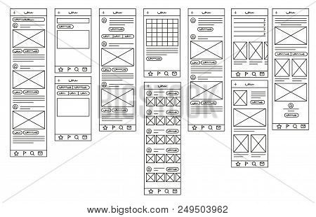 Mock Up For Mobile Applications. Prototypes For Mobile Applications. Linear Style. Linear Design. Ve