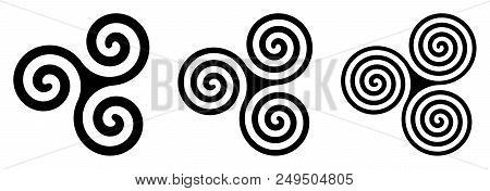 Three Black Celtic Triskelion Spirals Over White. Triple Spirals With Two, Three And Four Turns. Mot