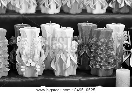 Wick, Paraffin Or Wax Od Various Colors, Decor. Candles On Shelf In Decoration Shop. Decor Design Cr