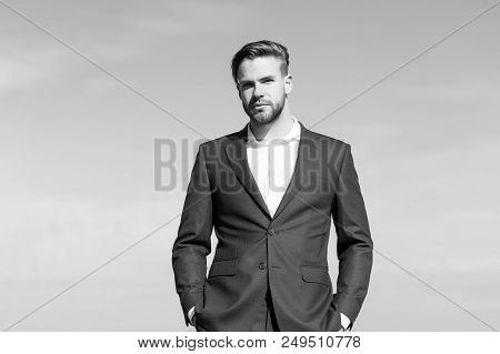 Man In Business Suit, Fashion. Businessman Stand On Blue Sky, Success. Success Ambition Freedom, Ach
