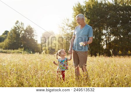 Outoor View Of Handsome Mature Grandfather Keeps Hand Of His Small Granddaughter, Looks At Each Othe