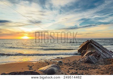 Ocean Shore At Sunrise (cabot Trail, Cape Breton, Nova Scotia, Canada)