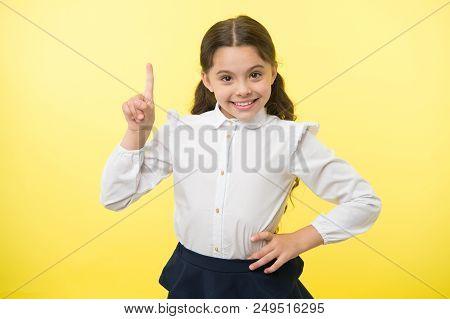Good Idea. Little Girl Has An Idea. She Got An Idea. Perfect Idea Of Small Girl Einstein