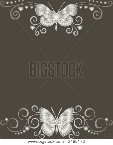Cute Butterfly Card - Vector