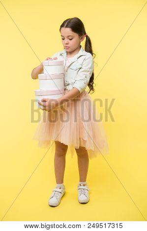 Happy Birthday. Happy Birthday Concept. Happy Girl With Birthday Presents. Happy Kid Hold Birthday G
