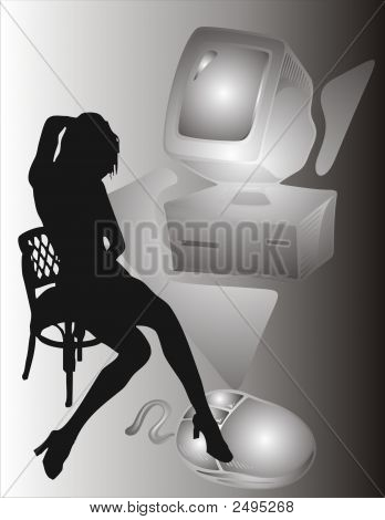 Girl And Computer - Vector Illustration