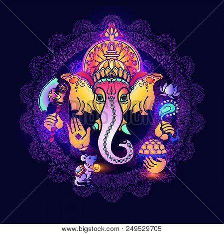 Hindu God Ganesha. Colorful  Card With Lord Ganesh. Hand Drawn Tribal Style Vector Illustration. Hin